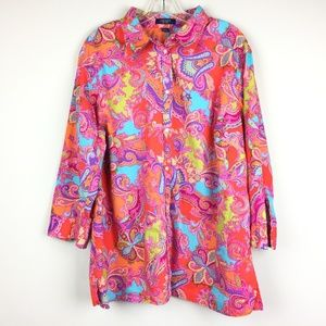 Chaps pink orange paisley blouse buttom down